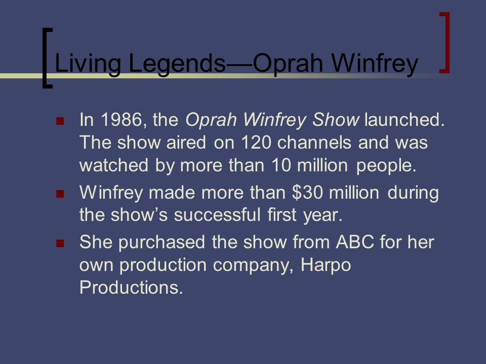 Living LegendsOprah Winfrey In 1986, the Oprah Winfrey Show launched. The show aired on 120 channels and was watched by more than 10 million people. W