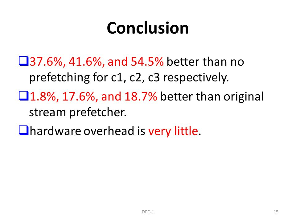 Conclusion 37.6%, 41.6%, and 54.5% better than no prefetching for c1, c2, c3 respectively. 1.8%, 17.6%, and 18.7% better than original stream prefetch