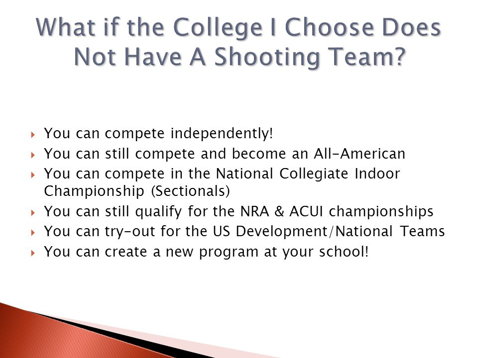You can compete independently! You can still compete and become an All-American You can compete in the National Collegiate Indoor Championship (Sectio