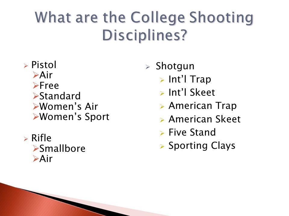Pistol NRA NCAA Rifle National Collegiate Athletic Association Club Rifle NRA Shotgun Association of College Unions International (ACUI)