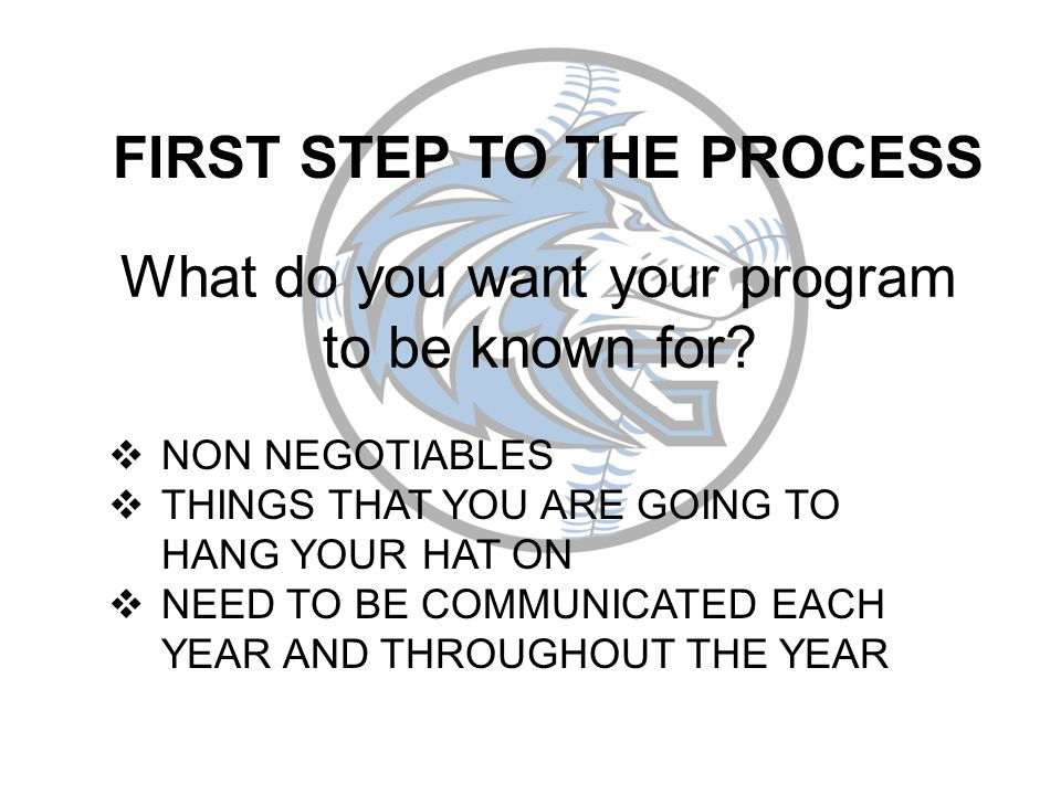 FIRST STEP TO THE PROCESS What do you want your program to be known for.