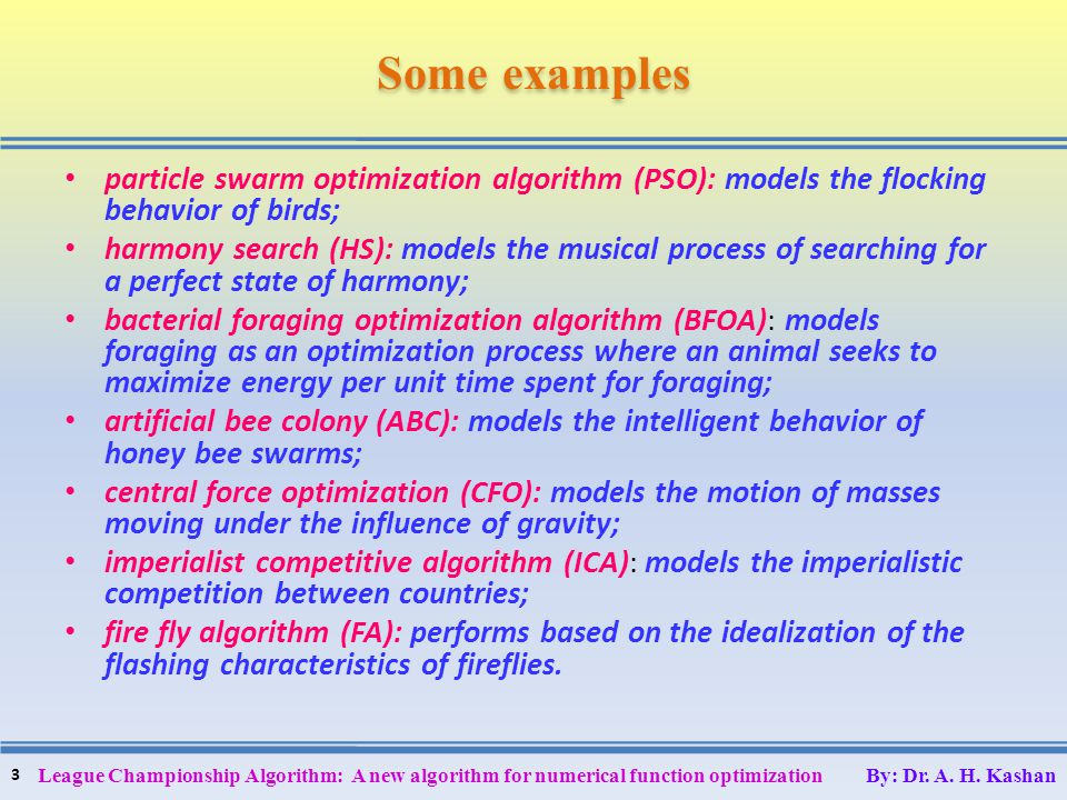 Someexamples Some examples particle swarm optimization algorithm (PSO): models the flocking behavior of birds; harmony search (HS): models the musical