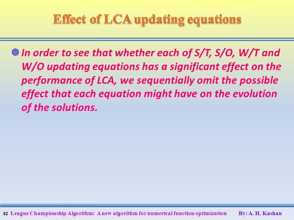 In order to see that whether each of S/T, S/O, W/T and W/O updating equations has a significant effect on the performance of LCA, we sequentially omit
