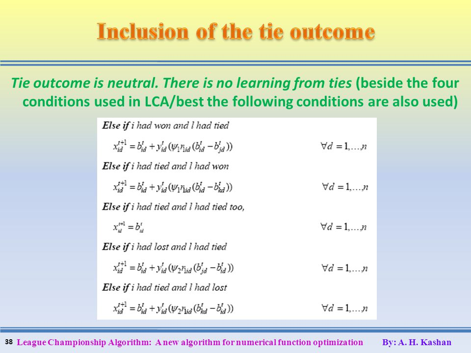 Tie outcome is neutral. There is no learning from ties (beside the four conditions used in LCA/best the following conditions are also used) 38 League
