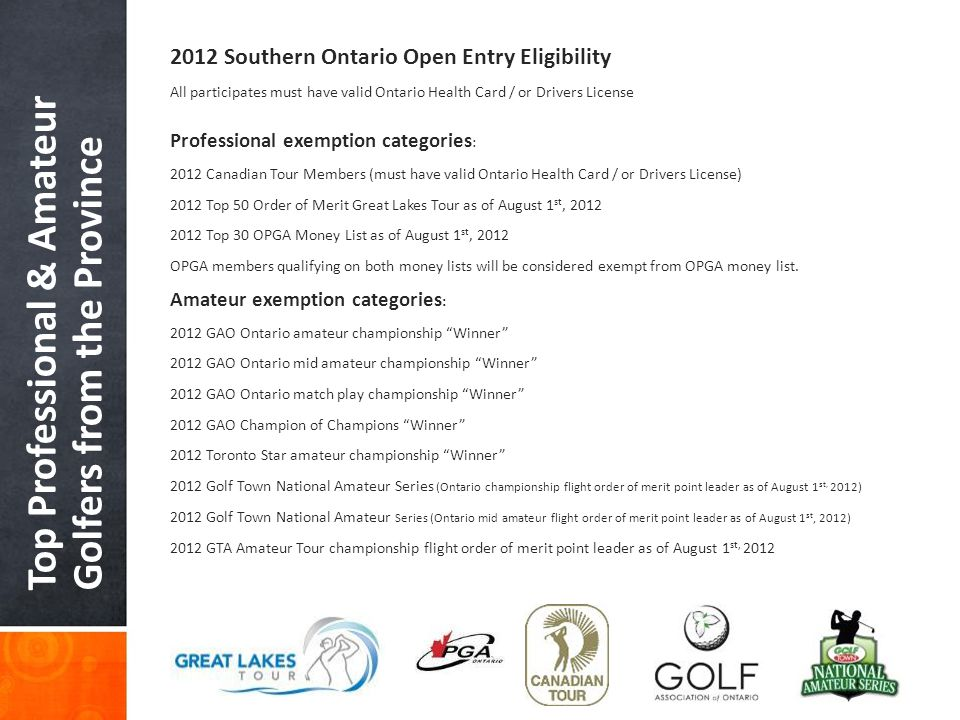 Top Professional & Amateur Golfers from the Province 2012 Southern Ontario Open Entry Eligibility All participates must have valid Ontario Health Card
