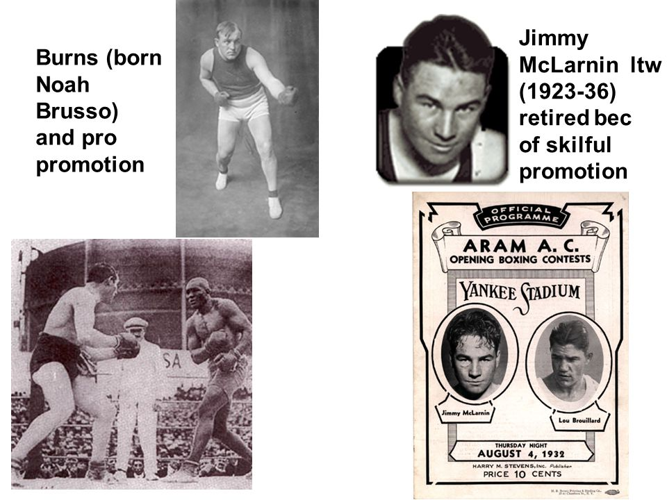 Burns (born Noah Brusso) and pro promotion Jimmy McLarnin ltw (1923-36) retired bec of skilful promotion