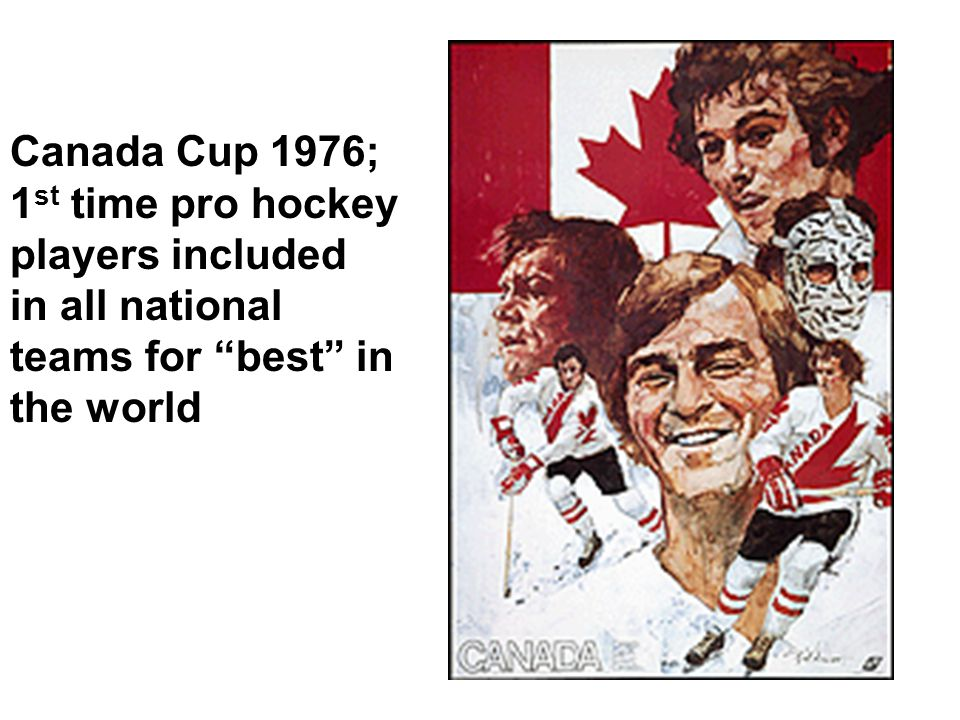 Canada Cup 1976; 1 st time pro hockey players included in all national teams for best in the world