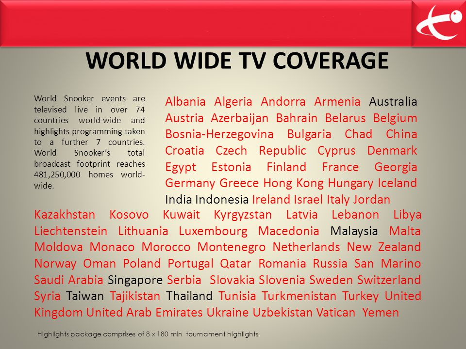 World Snooker events are televised live in over 74 countries world-wide and highlights programming taken to a further 7 countries.