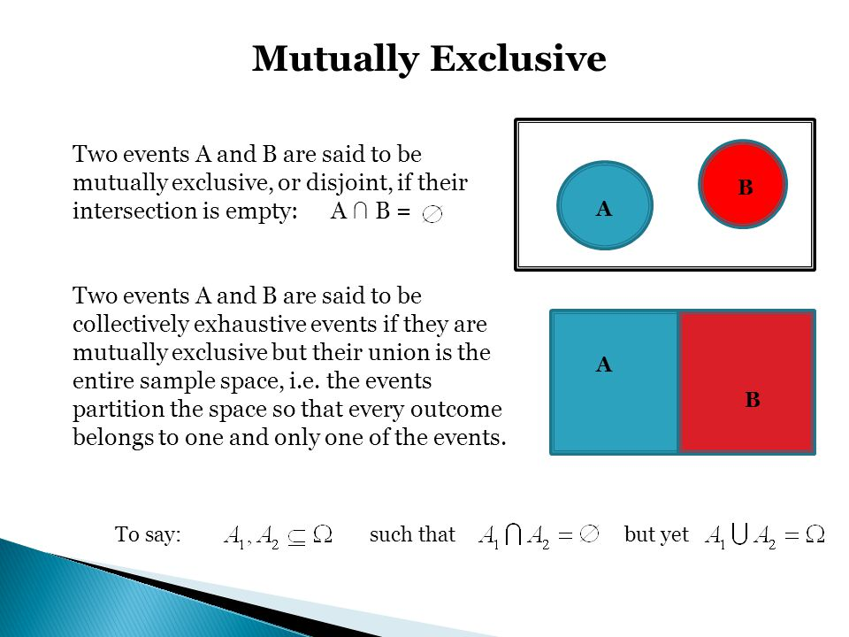 To say: such thatbut yet Mutually Exclusive Two events A and B are said to be mutually exclusive, or disjoint, if their intersection is empty: A B = T