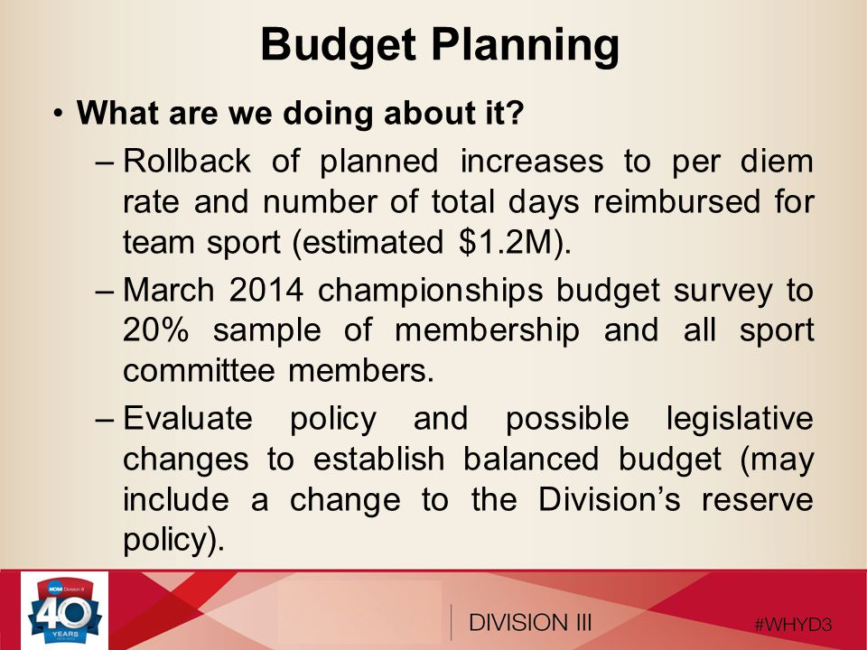Budget Planning Some concepts for consideration: –Reduce travel party size.
