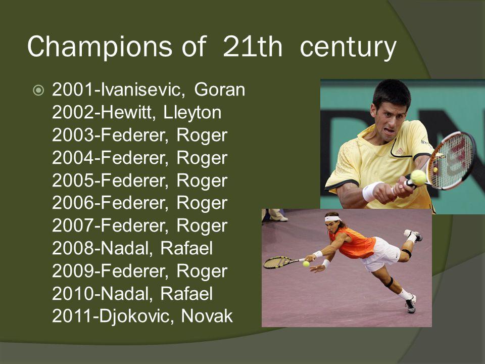 Champions of 21th century 2001-Ivanisevic, Goran 2002-Hewitt, Lleyton 2003-Federer, Roger 2004-Federer, Roger 2005-Federer, Roger 2006-Federer, Roger 2007-Federer, Roger 2008-Nadal, Rafael 2009-Federer, Roger 2010-Nadal, Rafael 2011-Djokovic, Novak