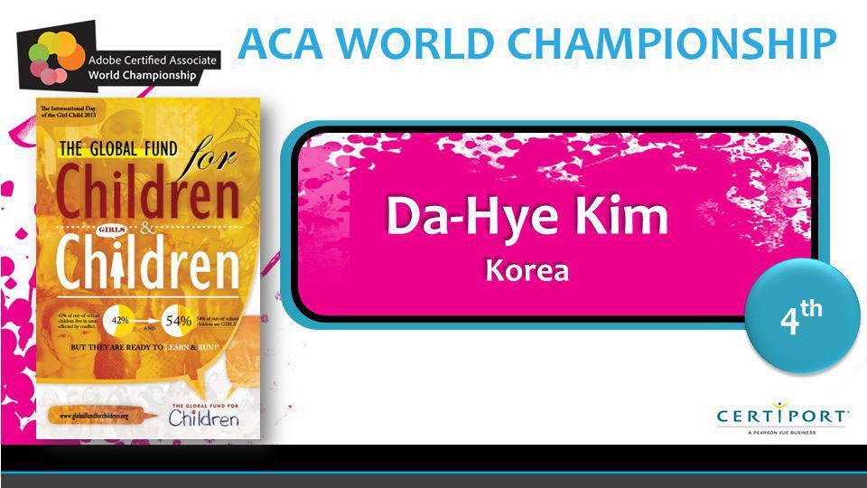 Name COUNTRY 4 th Da-Hye Kim Korea Da-Hye Kim Korea