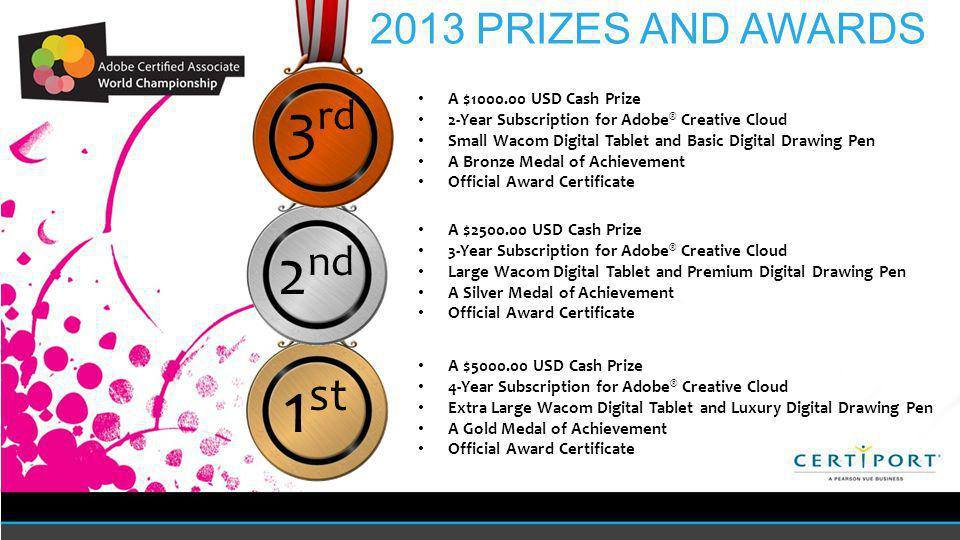 1 st A $ USD Cash Prize 4-Year Subscription for Adobe ® Creative Cloud Extra Large Wacom Digital Tablet and Luxury Digital Drawing Pen A Gold Medal of Achievement Official Award Certificate 2 nd A $ USD Cash Prize 3-Year Subscription for Adobe ® Creative Cloud Large Wacom Digital Tablet and Premium Digital Drawing Pen A Silver Medal of Achievement Official Award Certificate 2013 PRIZES AND AWARDS 3 rd A $ USD Cash Prize 2-Year Subscription for Adobe ® Creative Cloud Small Wacom Digital Tablet and Basic Digital Drawing Pen A Bronze Medal of Achievement Official Award Certificate