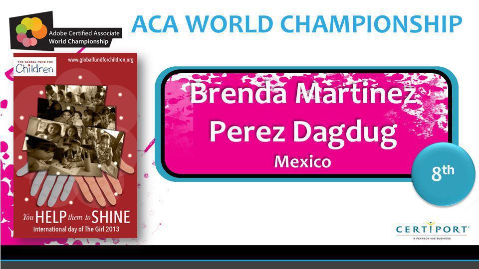 Name COUNTRY 8 th Brenda Martinez Perez Dagdug Mexico Brenda Martinez Perez Dagdug Mexico
