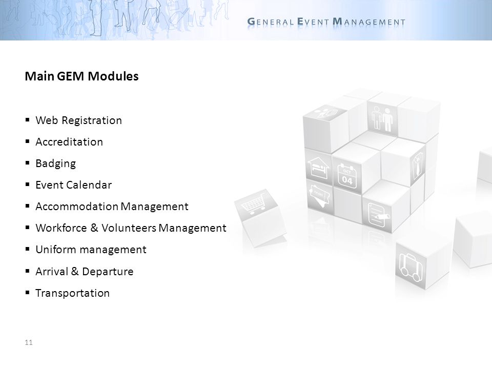 11 Main GEM Modules Web Registration Accreditation Badging Event Calendar Accommodation Management Workforce & Volunteers Management Uniform management Arrival & Departure Transportation