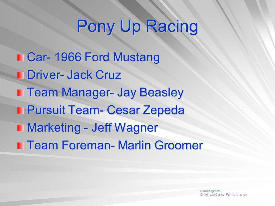 Pony Up Racing Car- 1966 Ford Mustang Driver- Jack Cruz Team Manager- Jay Beasley Pursuit Team- Cesar Zepeda Marketing - Jeff Wagner Team Foreman- Marlin Groomer Candlelighters Childhood Cancer Family Alliance
