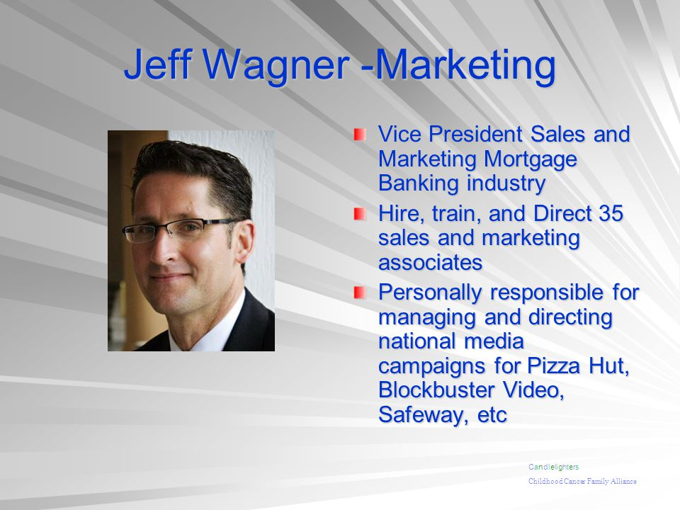 Jeff Wagner -Marketing Vice President Sales and Marketing Mortgage Banking industry Hire, train, and Direct 35 sales and marketing associates Personal
