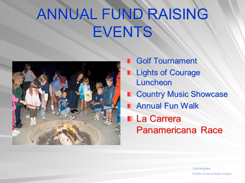 ANNUAL FUND RAISING EVENTS Golf Tournament Lights of Courage Luncheon Country Music Showcase Annual Fun Walk La Carrera Panamericana Race Candlelighte