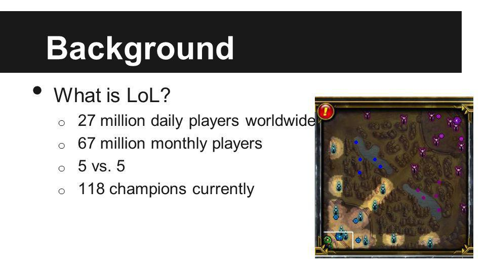 Background What is LoL? o 27 million daily players worldwide o 67 million monthly players o 5 vs. 5 o 118 champions currently