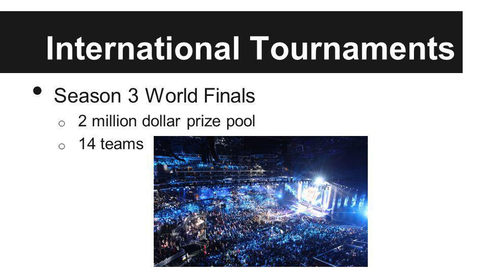International Tournaments Season 3 World Finals o 2 million dollar prize pool o 14 teams