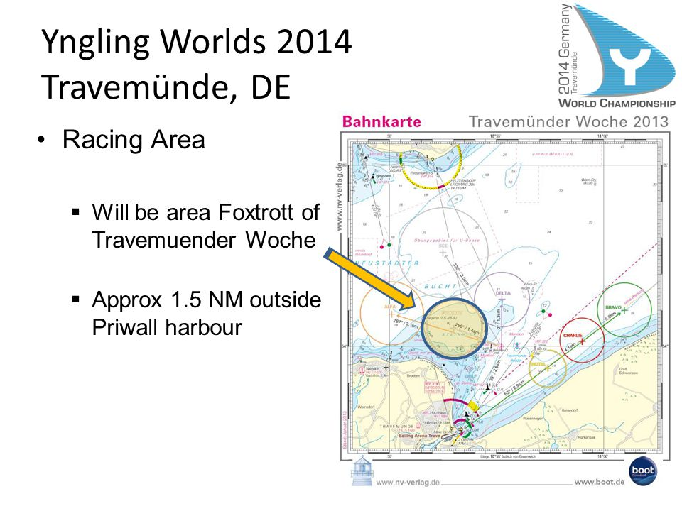 Racing Area Will be area Foxtrott of Travemuender Woche Approx 1.5 NM outside Priwall harbour