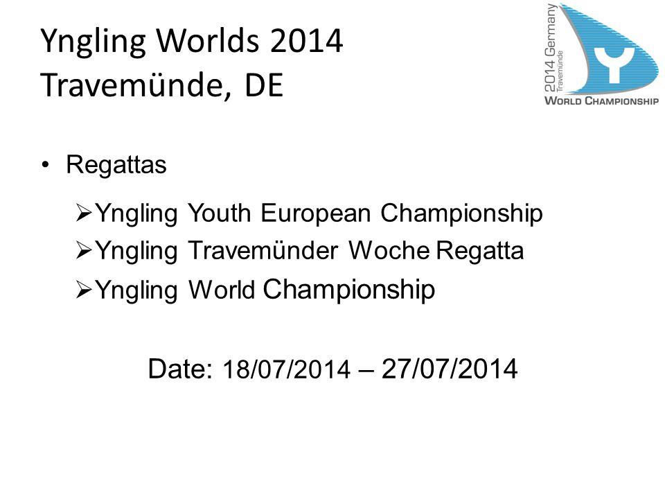 Yngling Worlds 2014 Travemünde, DE Regattas Yngling Youth European Championship Yngling Travemünder Woche Regatta Yngling World Championship Date: 18/