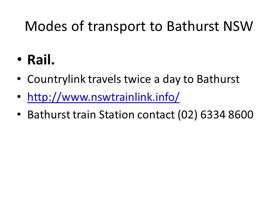 Modes of transport to Bathurst NSW Rail.