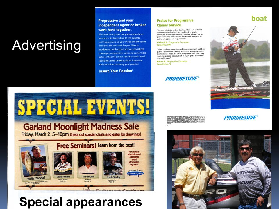 Advertising Promotions Special appearances