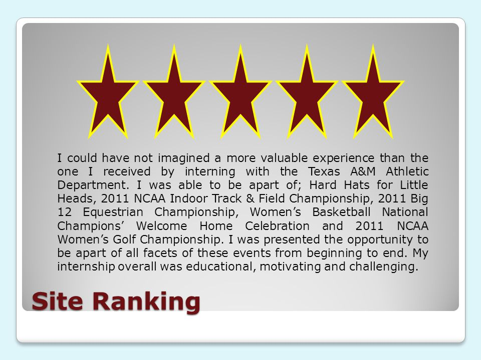 Site Ranking I could have not imagined a more valuable experience than the one I received by interning with the Texas A&M Athletic Department.