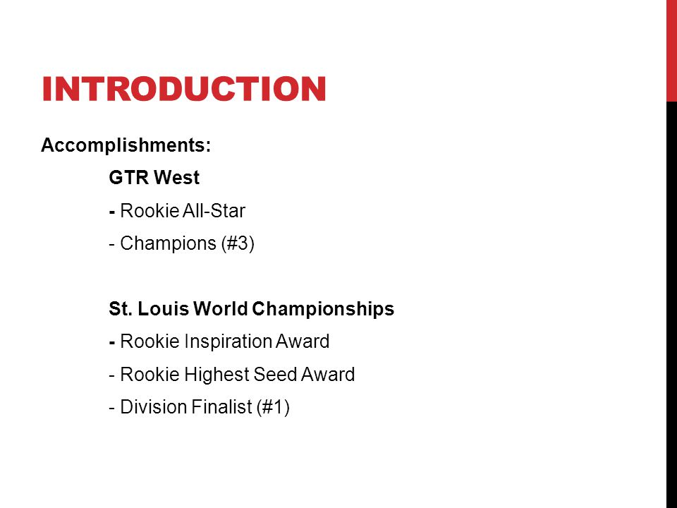 INTRODUCTION Accomplishments: GTR West - Rookie All-Star - Champions (#3) St.