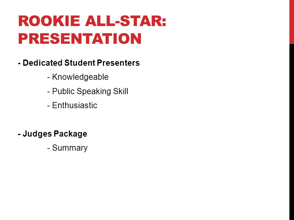 ROOKIE ALL-STAR: PRESENTATION - Dedicated Student Presenters - Knowledgeable - Public Speaking Skill - Enthusiastic - Judges Package - Summary