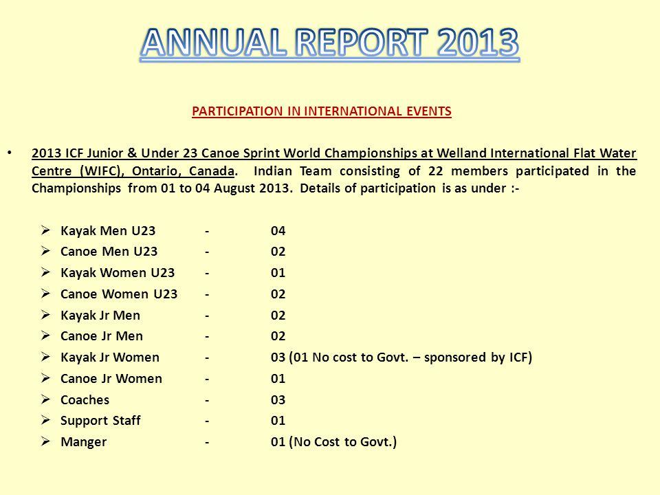 PARTICIPATION IN INTERNATIONAL EVENTS 2013 ICF Junior & Under 23 Canoe Sprint World Championships at Welland International Flat Water Centre (WIFC), O