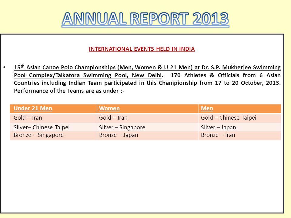 INTERNATIONAL EVENTS HELD IN INDIA 15 th Asian Canoe Polo Championships (Men, Women & U 21 Men) at Dr. S.P. Mukherjee Swimming Pool Complex/Talkatora