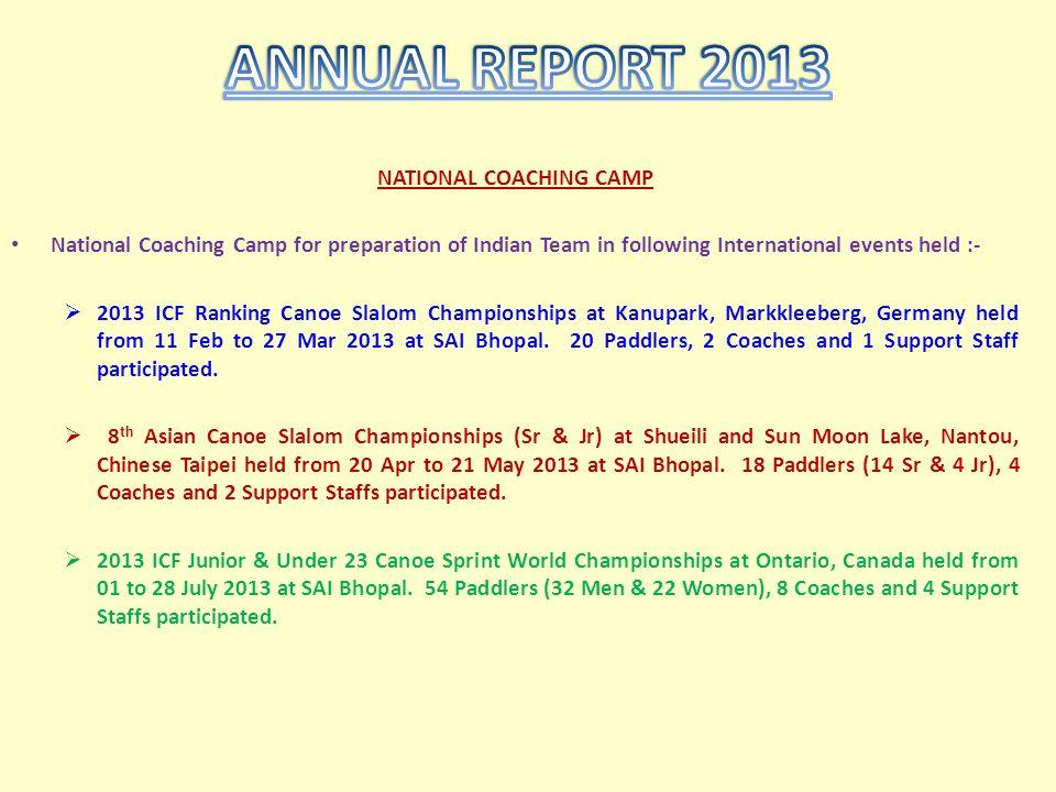 NATIONAL COACHING CAMP National Coaching Camp for preparation of Indian Team in following International events held :- 2013 ICF Ranking Canoe Slalom C