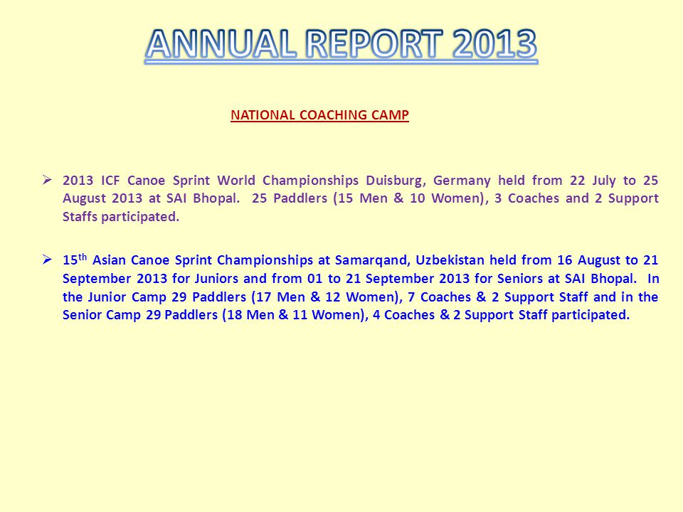 NATIONAL COACHING CAMP 2013 ICF Canoe Sprint World Championships Duisburg, Germany held from 22 July to 25 August 2013 at SAI Bhopal. 25 Paddlers (15