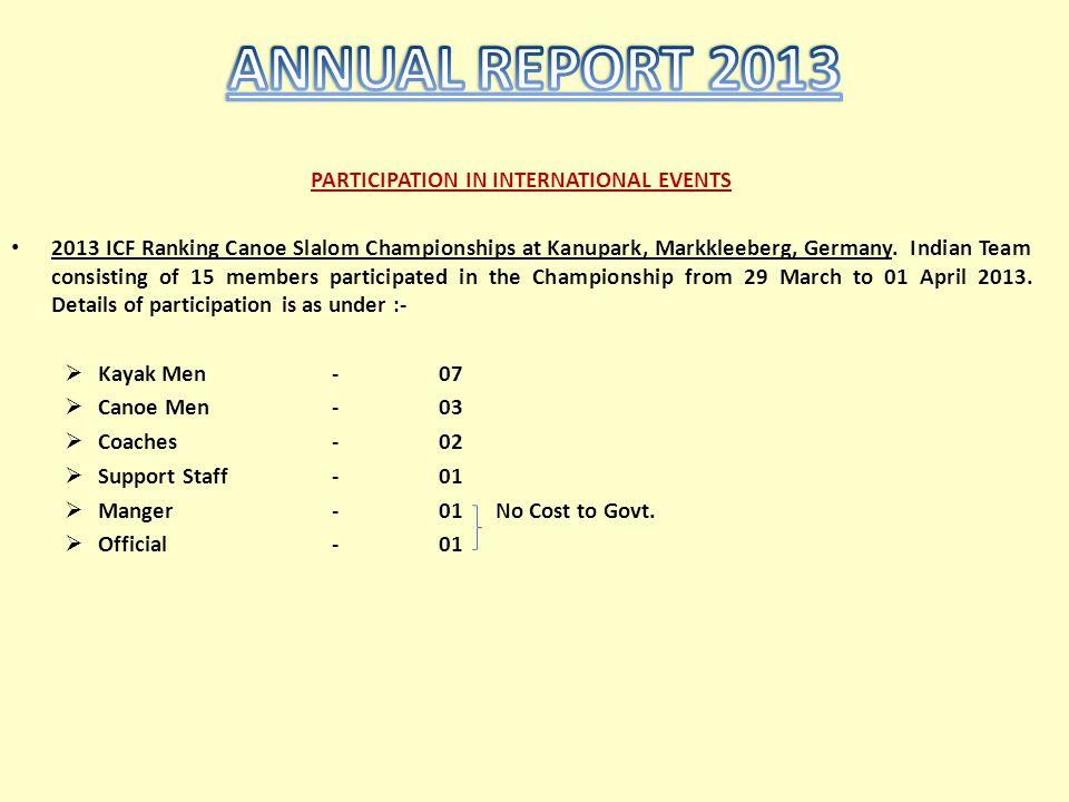PARTICIPATION IN INTERNATIONAL EVENTS 2013 ICF Ranking Canoe Slalom Championships at Kanupark, Markkleeberg, Germany. Indian Team consisting of 15 mem