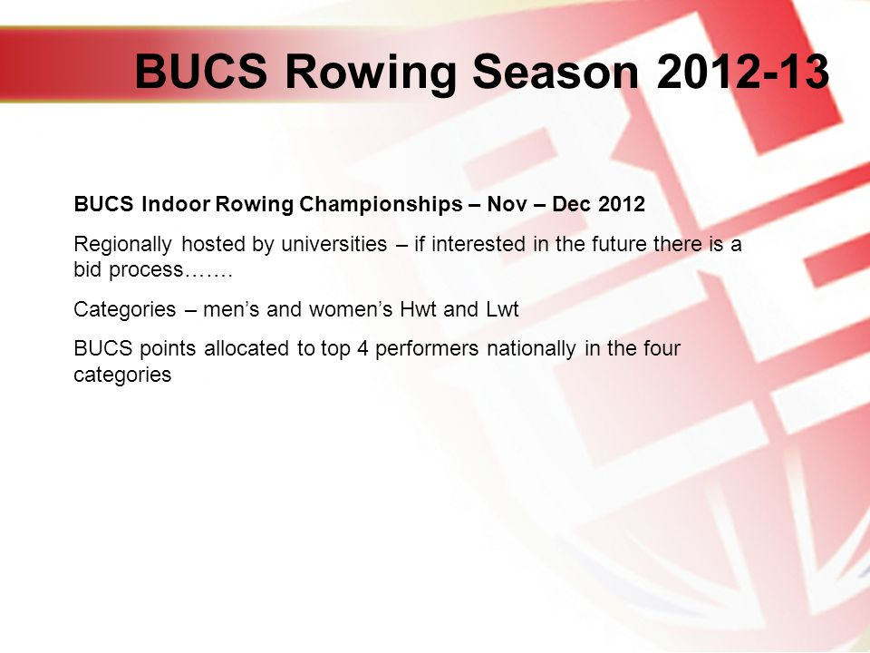 BUCS Indoor Rowing Championships – Nov – Dec 2012 Regionally hosted by universities – if interested in the future there is a bid process…….