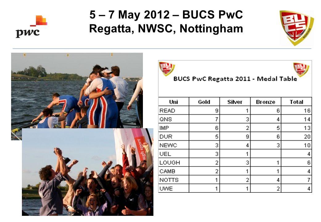 5 – 7 May 2012 – BUCS PwC Regatta, NWSC, Nottingham