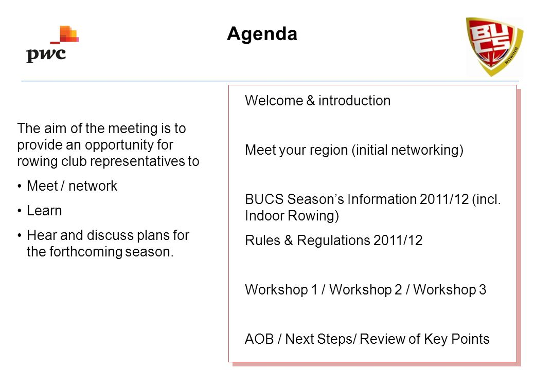 Agenda Welcome & introduction Meet your region (initial networking) BUCS Seasons Information 2011/12 (incl.