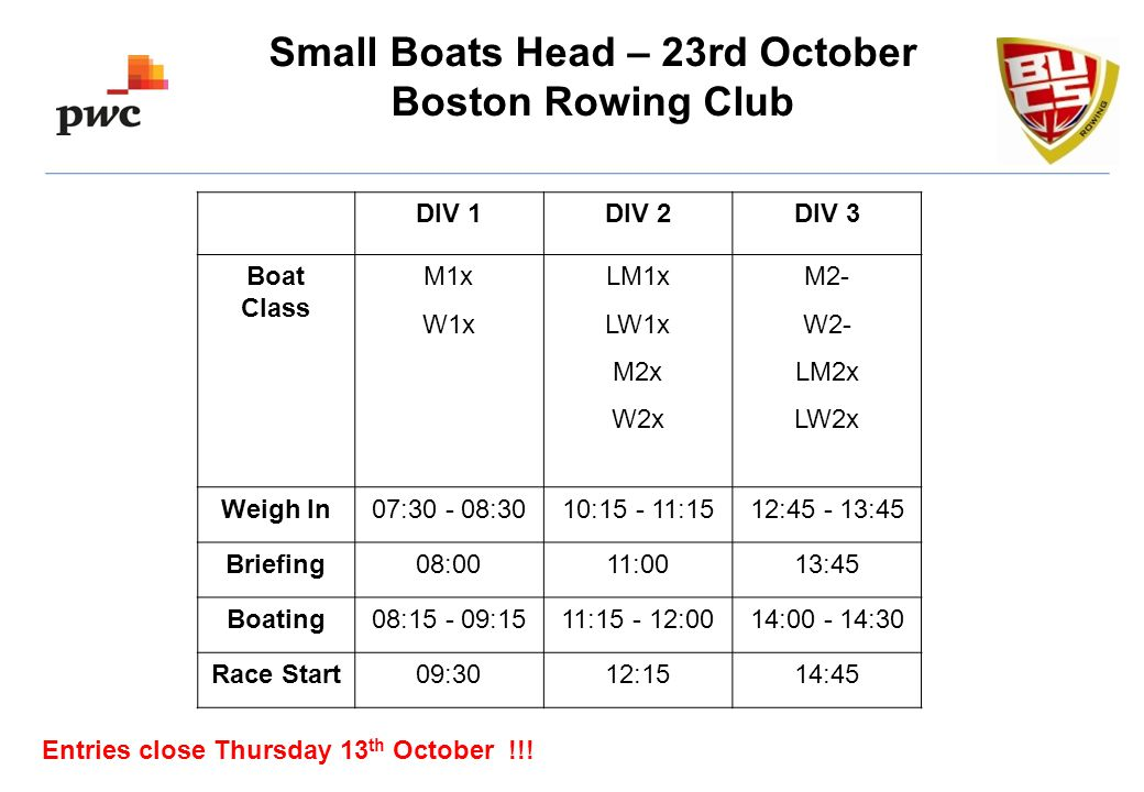 Small Boats Head – 23rd October Boston Rowing Club Entries close Thursday 13 th October !!.