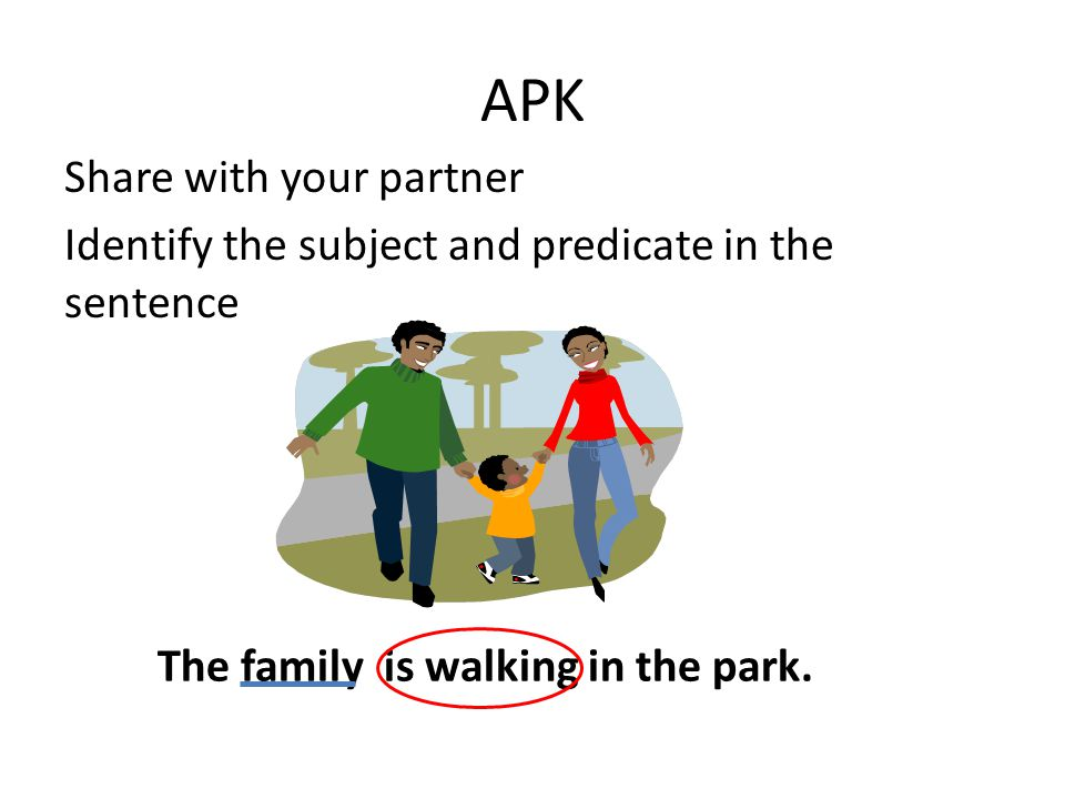 APK Share with your partner Identify the subject and predicate in the sentence The family is walking in the park.
