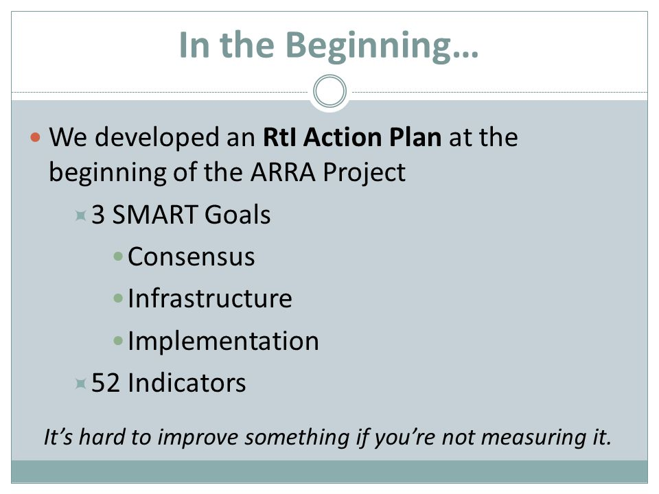In the Beginning… We developed an RtI Action Plan at the beginning of the ARRA Project 3 SMART Goals Consensus Infrastructure Implementation 52 Indicators Its hard to improve something if youre not measuring it.