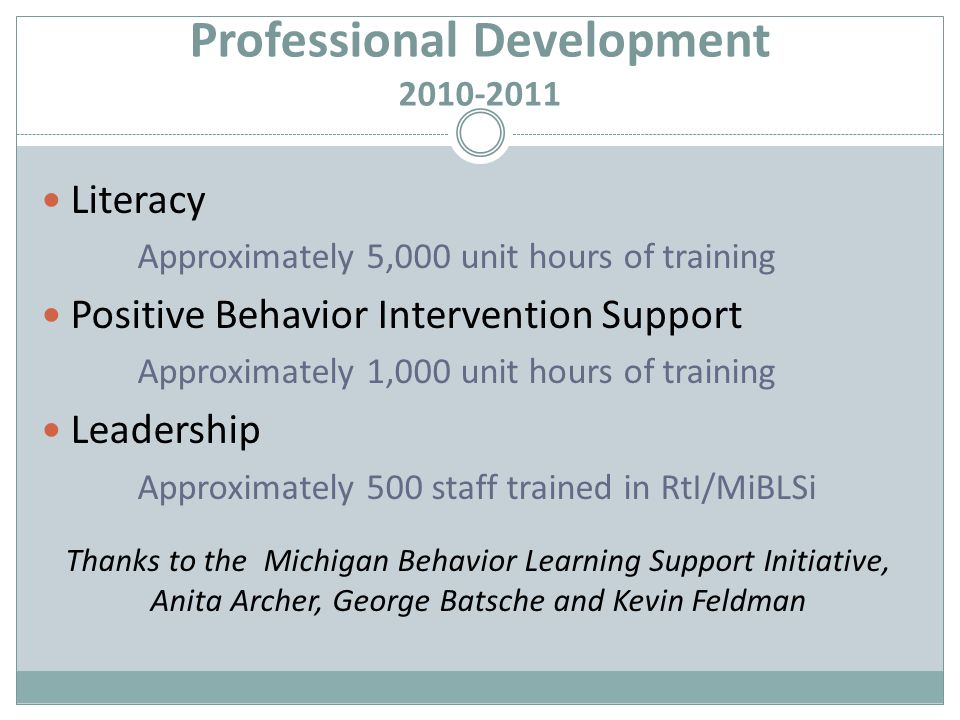 Professional Development 2010-2011 Literacy Approximately 5,000 unit hours of training Positive Behavior Intervention Support Approximately 1,000 unit hours of training Leadership Approximately 500 staff trained in RtI/MiBLSi Thanks to the Michigan Behavior Learning Support Initiative, Anita Archer, George Batsche and Kevin Feldman