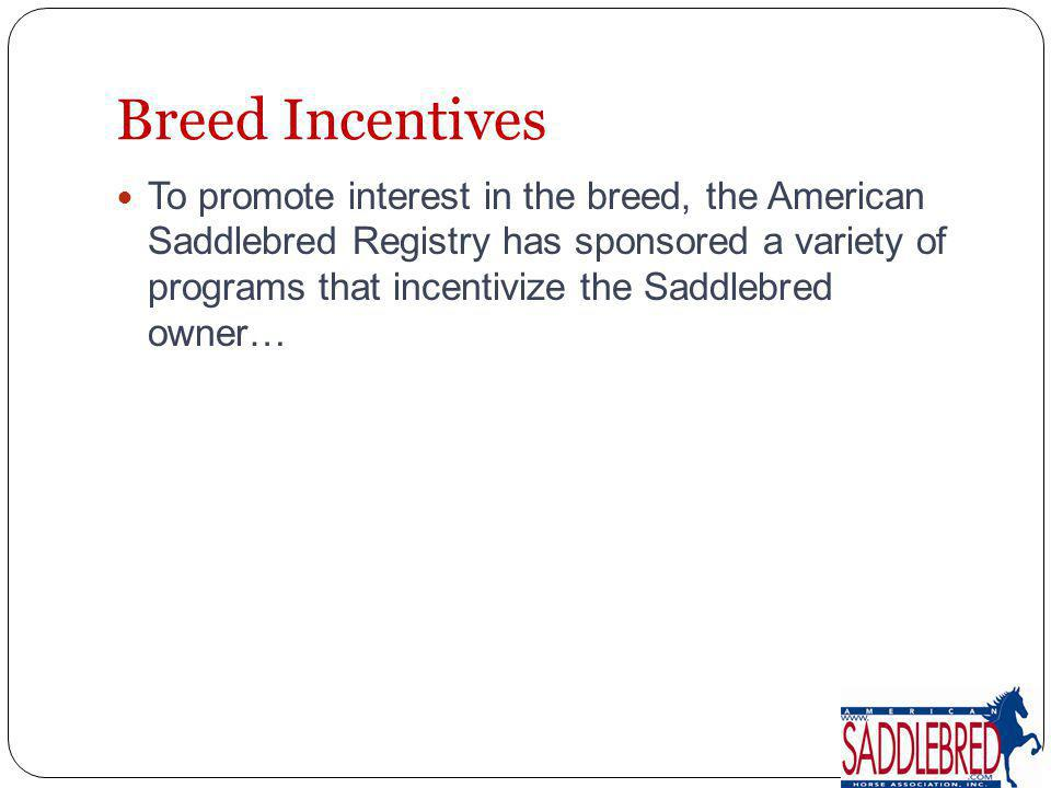 To promote interest in the breed, the American Saddlebred Registry has sponsored a variety of programs that incentivize the Saddlebred owner…