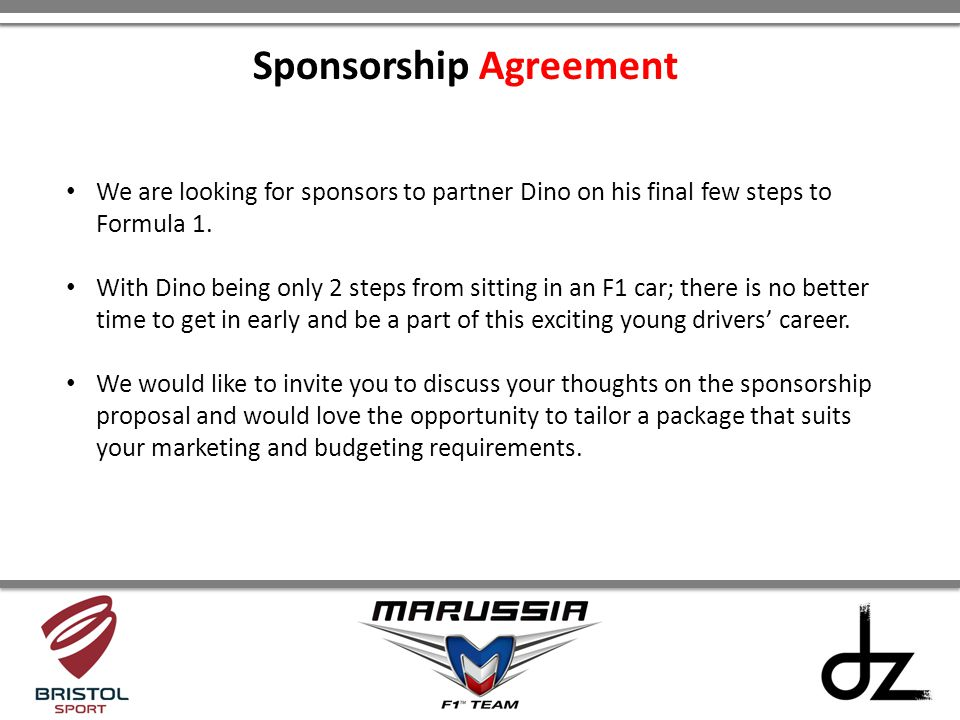 We are looking for sponsors to partner Dino on his final few steps to Formula 1. With Dino being only 2 steps from sitting in an F1 car; there is no b