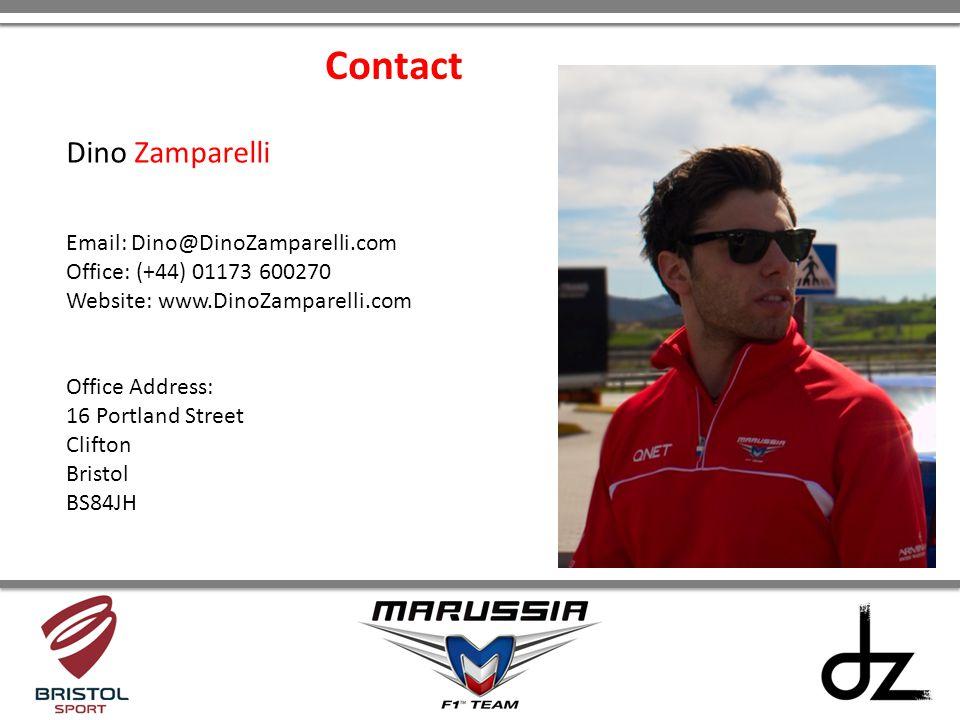 Dino Zamparelli Email: Dino@DinoZamparelli.com Office: (+44) 01173 600270 Website: www.DinoZamparelli.com Office Address: 16 Portland Street Clifton B