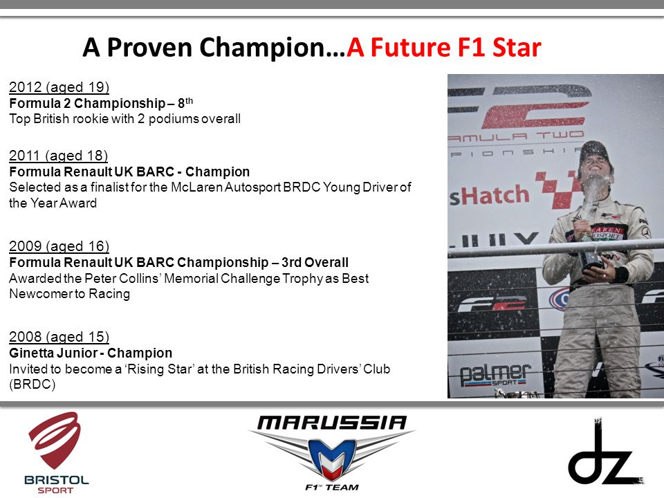 2012 (aged 19) Formula 2 Championship – 8 th Top British rookie with 2 podiums overall 2011 (aged 18) Formula Renault UK BARC - Champion Selected as a