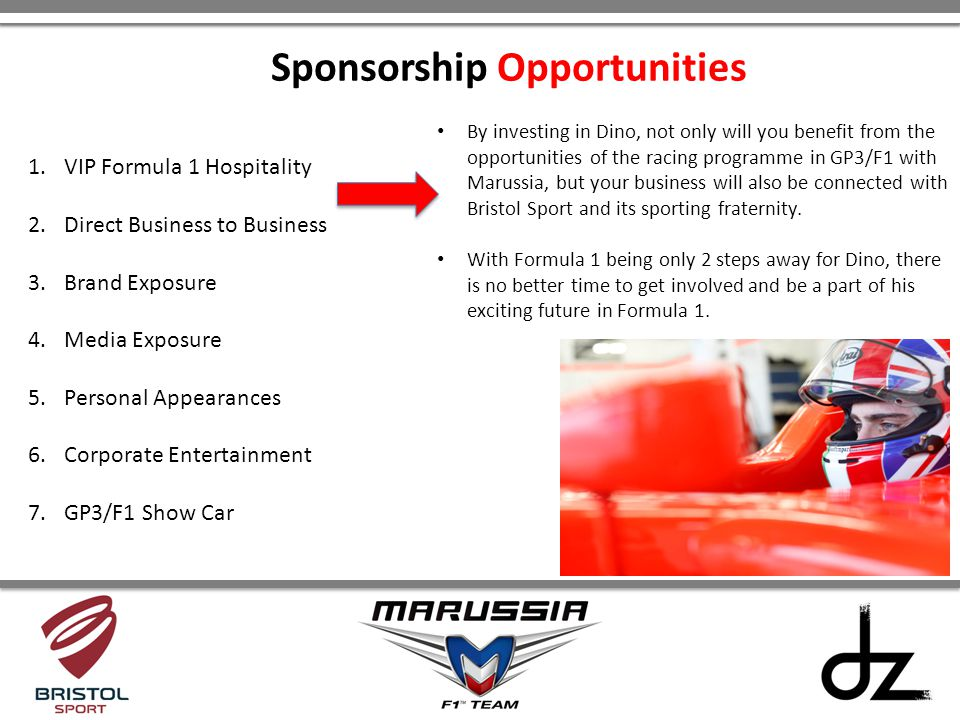 By investing in Dino, not only will you benefit from the opportunities of the racing programme in GP3/F1 with Marussia, but your business will also be