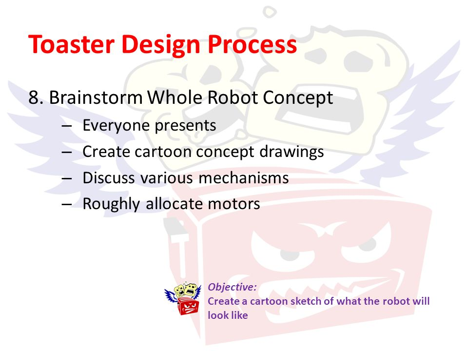 Toaster Design Process 8. Brainstorm Whole Robot Concept – Everyone presents – Create cartoon concept drawings – Discuss various mechanisms – Roughly