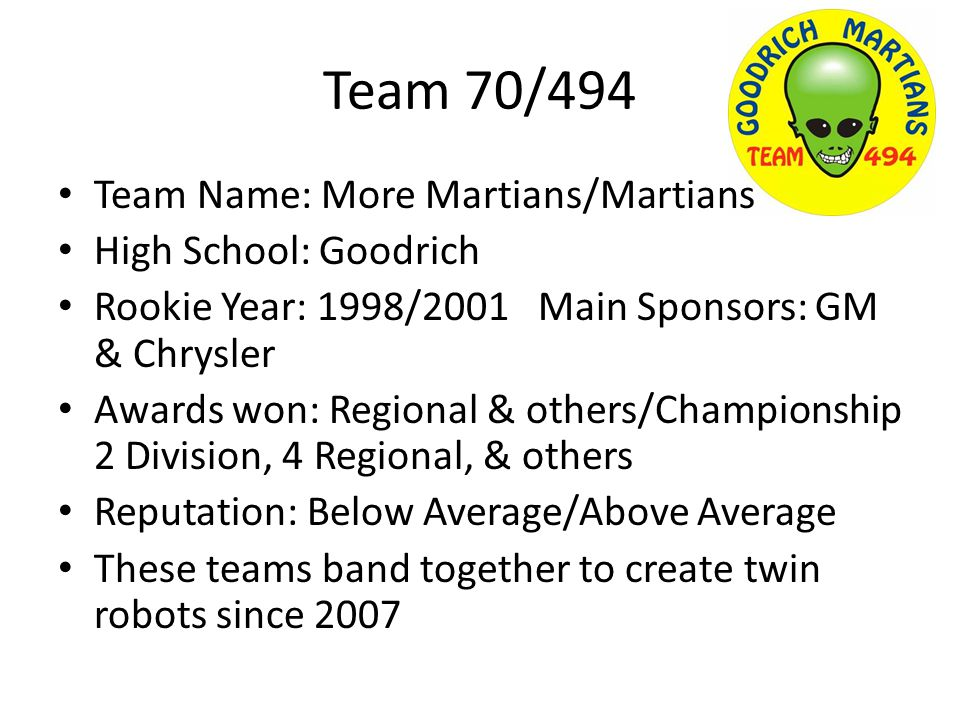Team 70/494 Team Name: More Martians/Martians High School: Goodrich Rookie Year: 1998/2001 Main Sponsors: GM & Chrysler Awards won: Regional & others/